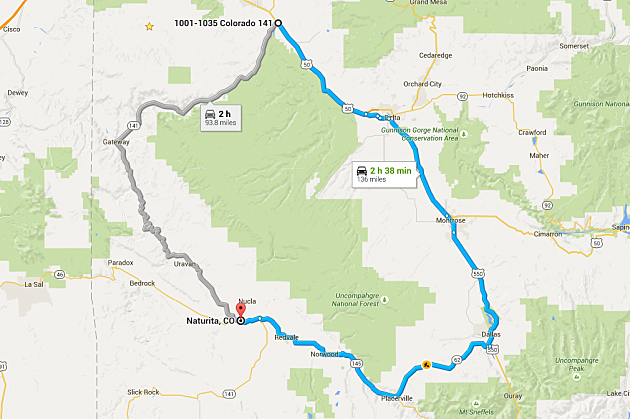 CDOT Closing SH From Whitewater To Naturita - Colorado state road map