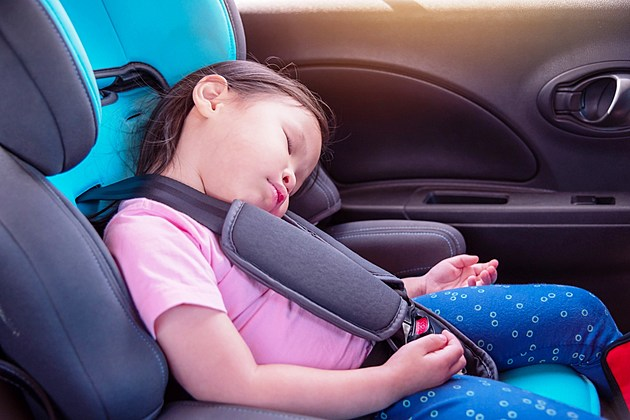 Young Girl Sleeping in Car Seat
