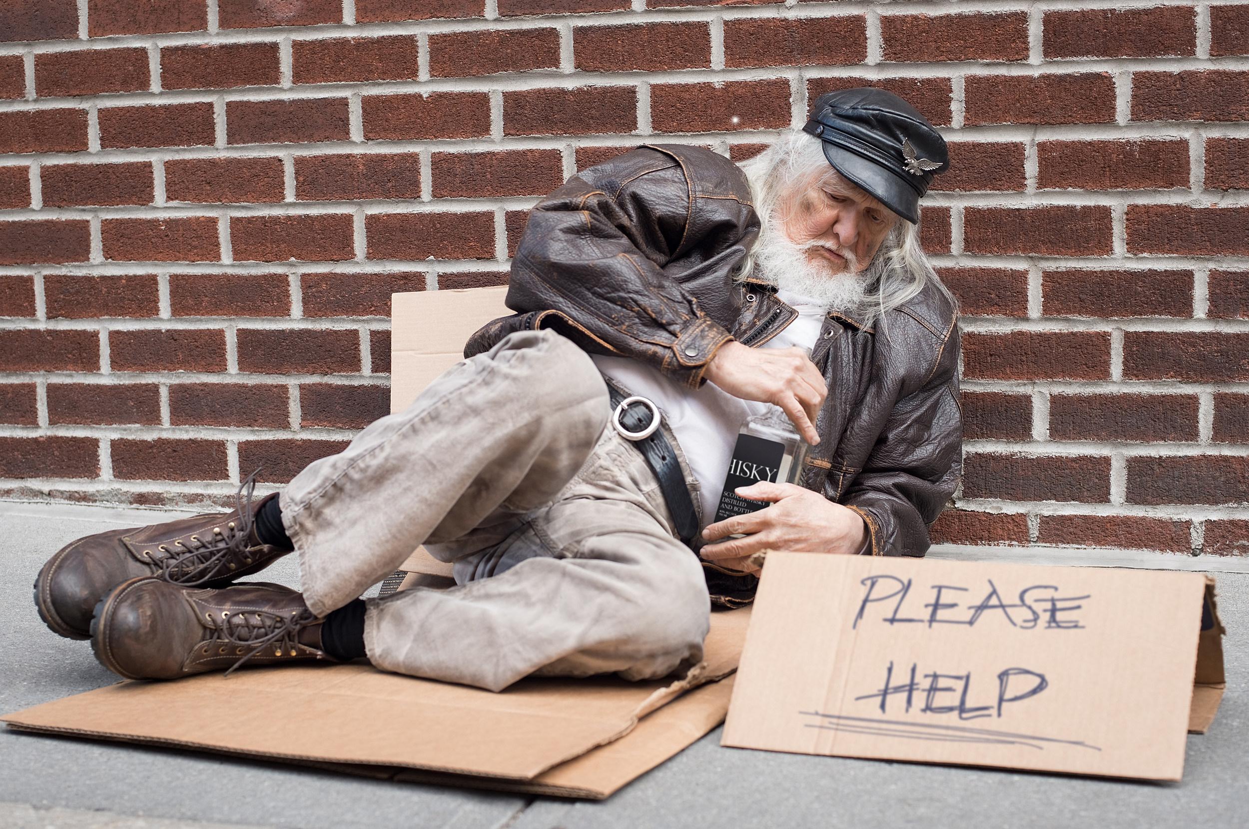 Homeless man sign Homeless man ask for help