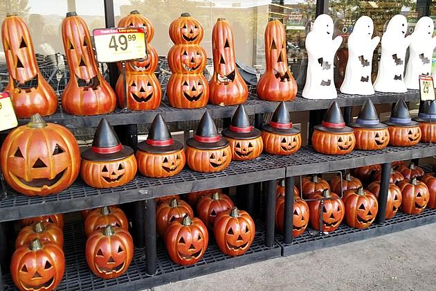 Halloween Decor Outside City Market August 11 2017